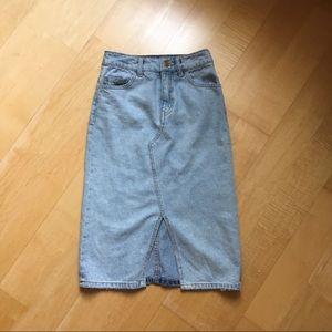 Midi light wash denim skirt